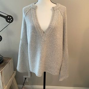 Free People Deep V Bell Sleeve Sweater